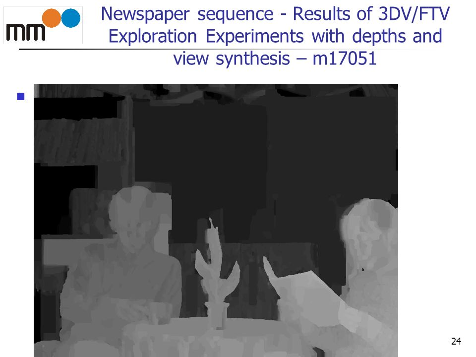 Newspaper sequence - Results of 3DV/FTV Exploration Experiments with depths and view synthesis – m17051 ff 24
