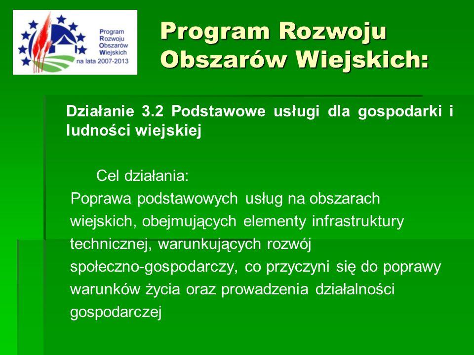 Działanie 3.2 Podstawowe usługi dla gospodarki i ludności wiejskiej Cel działania: Poprawa podstawowych usług na obszarach wiejskich, obejmujących ele