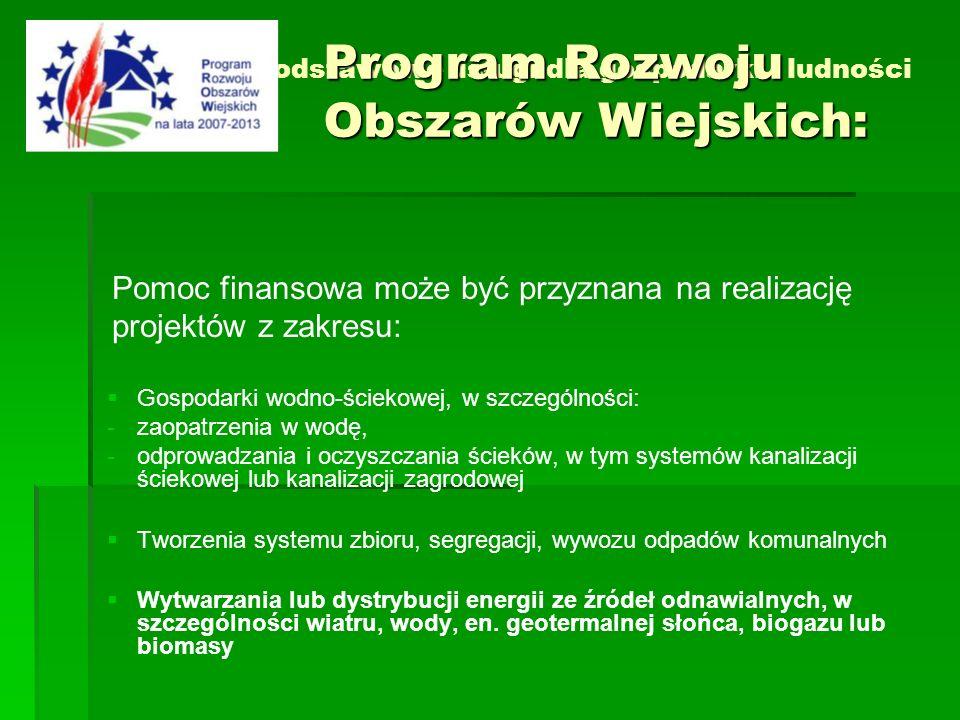 Działanie 3.2 Podstawowe usługi dla gospodarki i ludności wiejskiej Pomoc finansowa może być przyznana na realizację projektów z zakresu: Gospodarki w