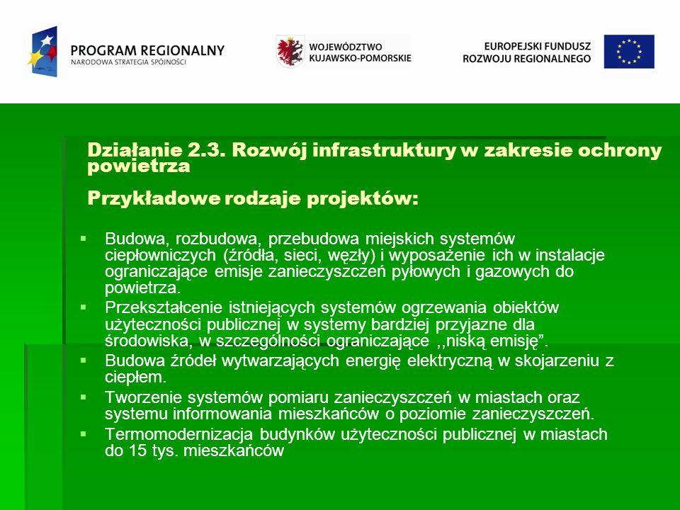 Działanie 2.3. Rozwój infrastruktury w zakresie ochrony powietrza Przykładowe rodzaje projektów: Budowa, rozbudowa, przebudowa miejskich systemów ciep