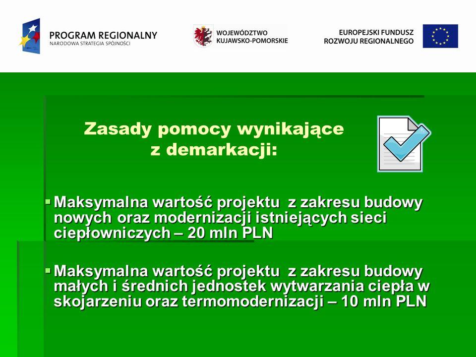 Zasady pomocy wynikające z demarkacji: Maksymalna wartość projektu z zakresu budowy nowych oraz modernizacji istniejących sieci ciepłowniczych – 20 ml