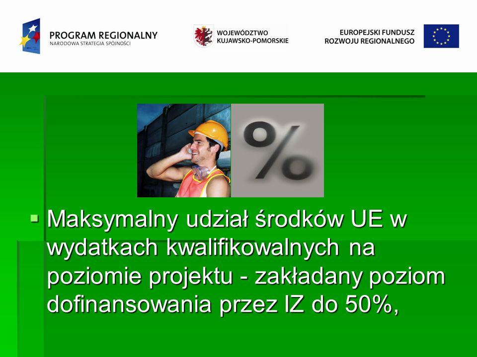 Maksymalny udział środków UE w wydatkach kwalifikowalnych na poziomie projektu - zakładany poziom dofinansowania przez IZ do 50%, Maksymalny udział śr