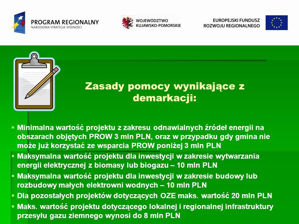 Zasady pomocy wynikające z demarkacji: Minimalna wartość projektu z zakresu odnawialnych źródeł energii na obszarach objętych PROW 3 mln PLN, oraz w p