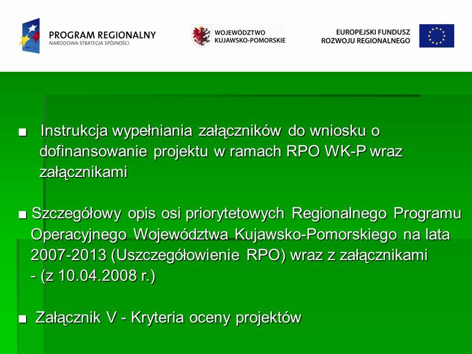 Instrukcja wypełniania załączników do wniosku o Instrukcja wypełniania załączników do wniosku o dofinansowanie projektu w ramach RPO WK-P wraz dofinan