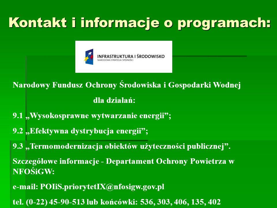 Kontakt i informacje o programach: Kontakt i informacje o programach: Narodowy Fundusz Ochrony Środowiska i Gospodarki Wodnej dla działań: 9.1 Wysokos