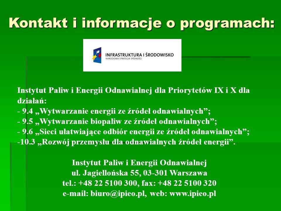 Instytut Paliw i Energii Odnawialnej dla Priorytetów IX i X dla działań: - 9.4 Wytwarzanie energii ze źródeł odnawialnych; - 9.5 Wytwarzanie biopaliw