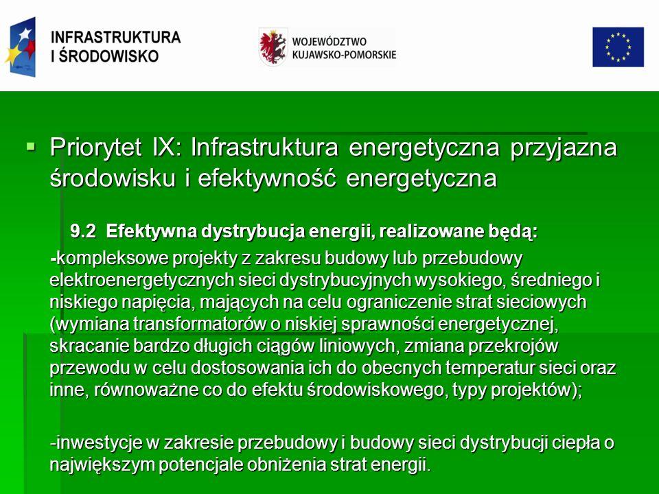 Priorytet IX: Infrastruktura energetyczna przyjazna środowisku i efektywność energetyczna Priorytet IX: Infrastruktura energetyczna przyjazna środowisku i efektywność energetyczna 9.3 Termomodernizacja obiektów użyteczności publicznej 9.3 Termomodernizacja obiektów użyteczności publicznej Cel: zmniejszenie zużycia energii w sektorze publicznym Cel: zmniejszenie zużycia energii w sektorze publicznym W ramach działania wspierane będą: W ramach działania wspierane będą: - inwestycje w zakresie termomodernizacji budynków użyteczności publicznej, w tym zmiany wyposażenia obiektów w urządzenia o najwyższej, uzasadnionej ekonomicznie klasie efektywności energetycznej;