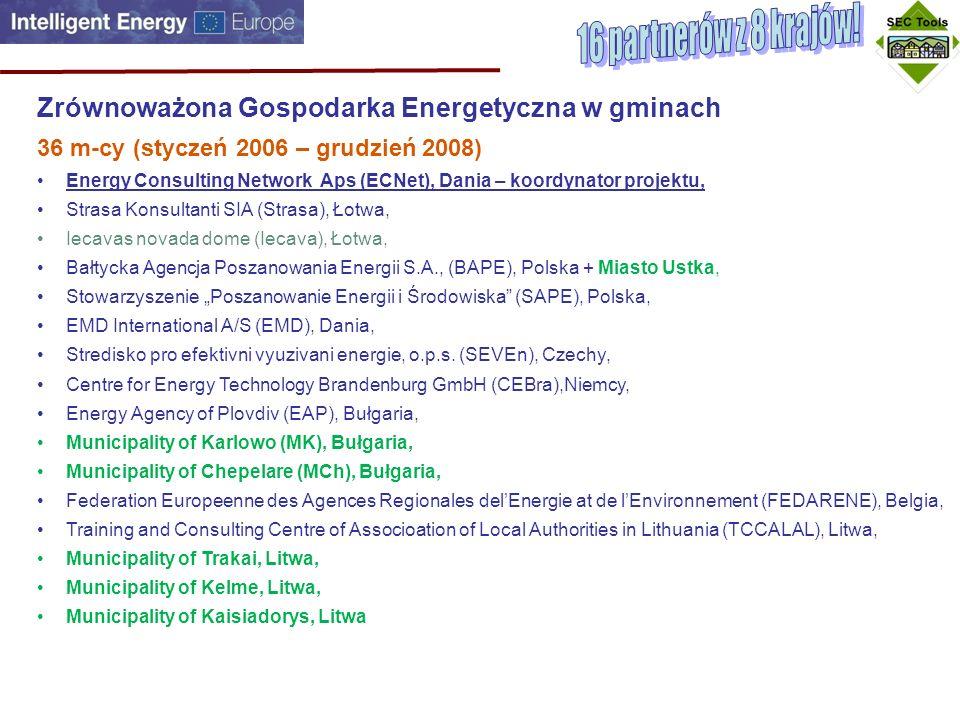 Zrównoważona Gospodarka Energetyczna w gminach 36 m-cy (styczeń 2006 – grudzień 2008) Energy Consulting Network Aps (ECNet), Dania – koordynator projektu, Strasa Konsultanti SIA (Strasa), Łotwa, Iecavas novada dome (Iecava), Łotwa, Bałtycka Agencja Poszanowania Energii S.A., (BAPE), Polska + Miasto Ustka, Stowarzyszenie Poszanowanie Energii i Środowiska (SAPE), Polska, EMD International A/S (EMD), Dania, Stredisko pro efektivni vyuzivani energie, o.p.s.