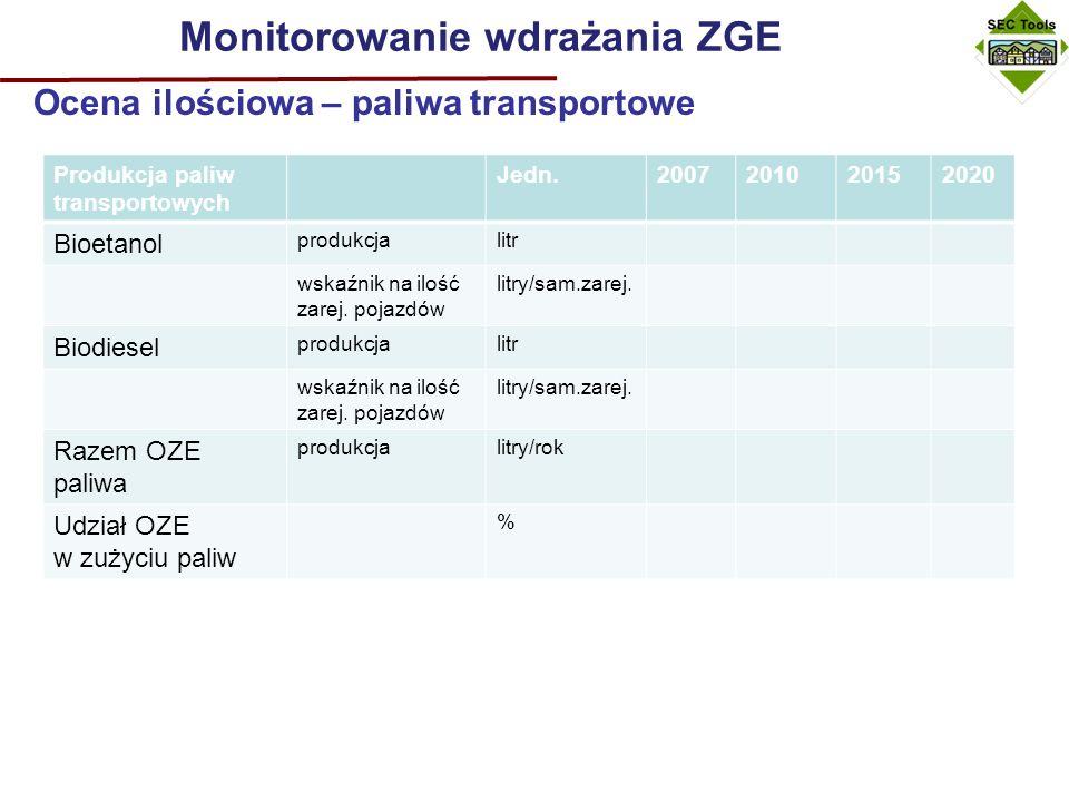Monitorowanie wdrażania ZGE Ocena ilościowa – minus 20% .