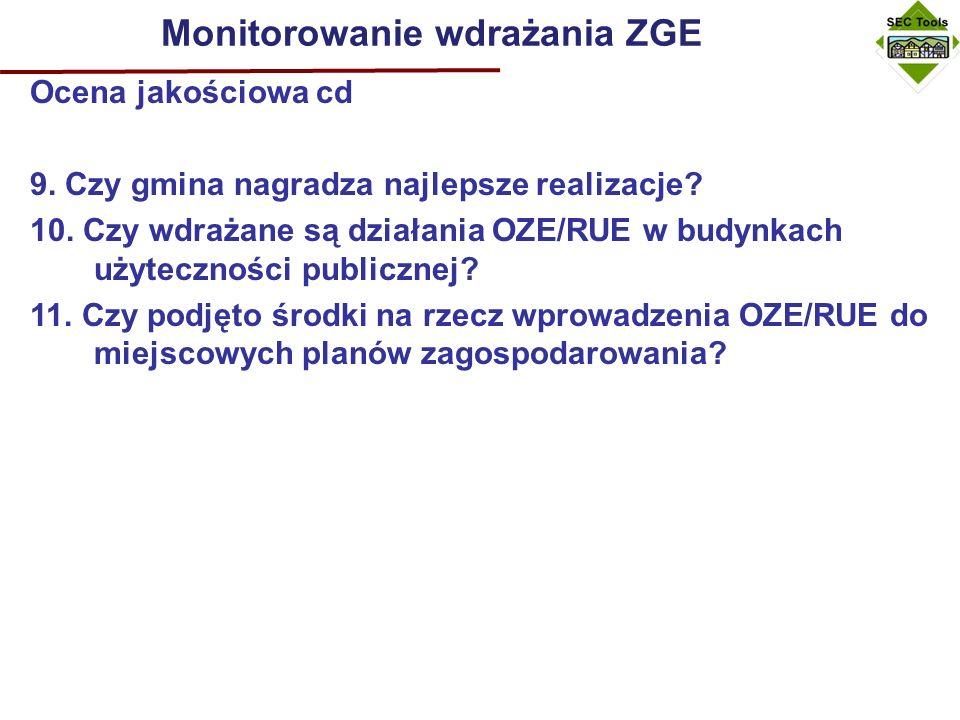Monitorowanie wdrażania ZGE Ocena jakościowa cd 9.