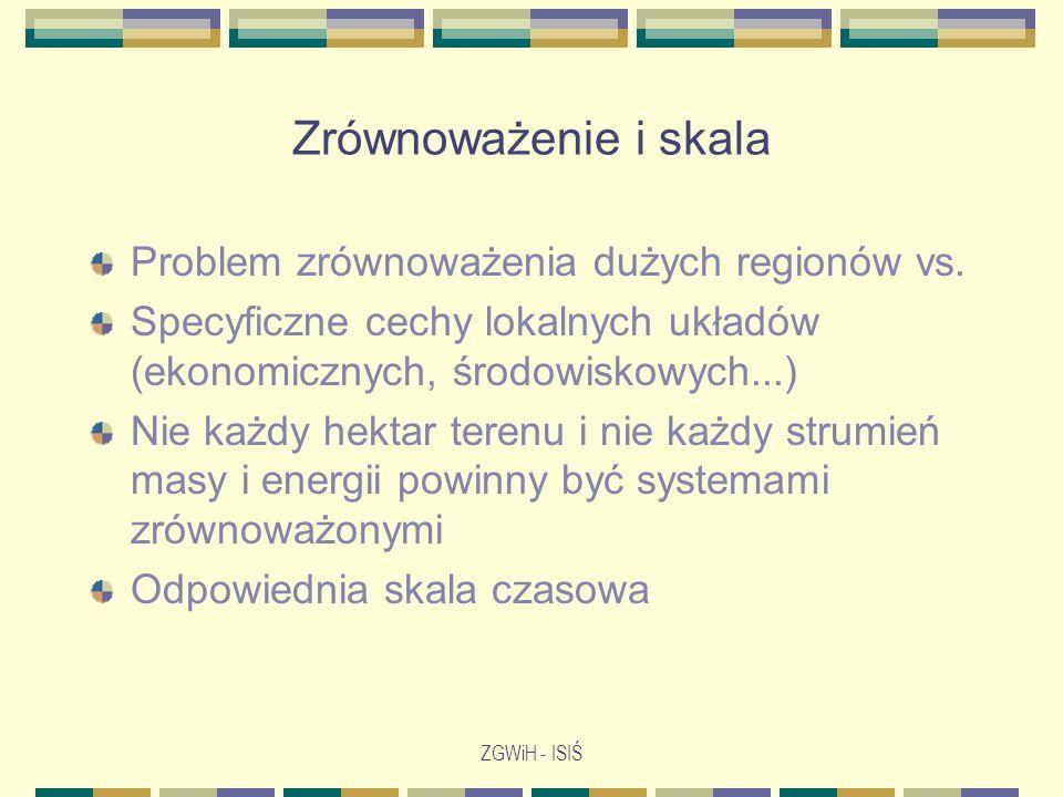 ZGWiH - ISIŚ Zrównoważenie i skala Problem zrównoważenia dużych regionów vs. Specyficzne cechy lokalnych układów (ekonomicznych, środowiskowych...) Ni