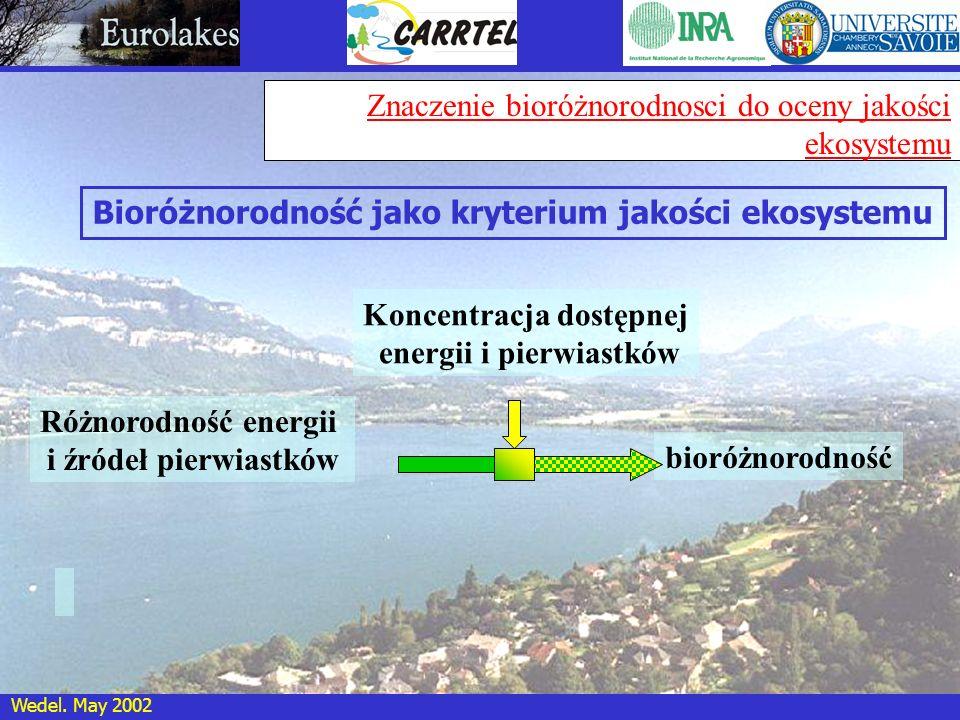 Wedel. May 2002 Znaczenie bioróżnorodnosci do oceny jakości ekosystemu Różnorodność energii i źródeł pierwiastków Koncentracja dostępnej energii i pie