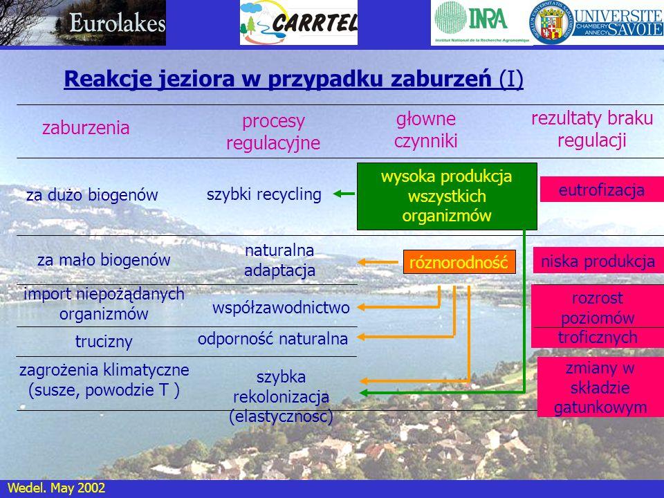 Wedel. May 2002 Reakcje jeziora w przypadku zaburzeń (I) za dużo biogenów zaburzenia procesy regulacyjne głowne czynniki szybki recycling rezultaty br