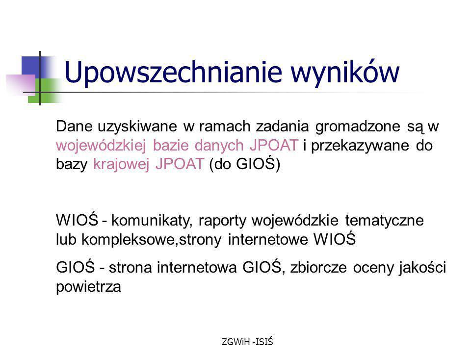 ZGWiH -ISIŚ Upowszechnianie wyników Dane uzyskiwane w ramach zadania gromadzone są w wojewódzkiej bazie danych JPOAT i przekazywane do bazy krajowej J