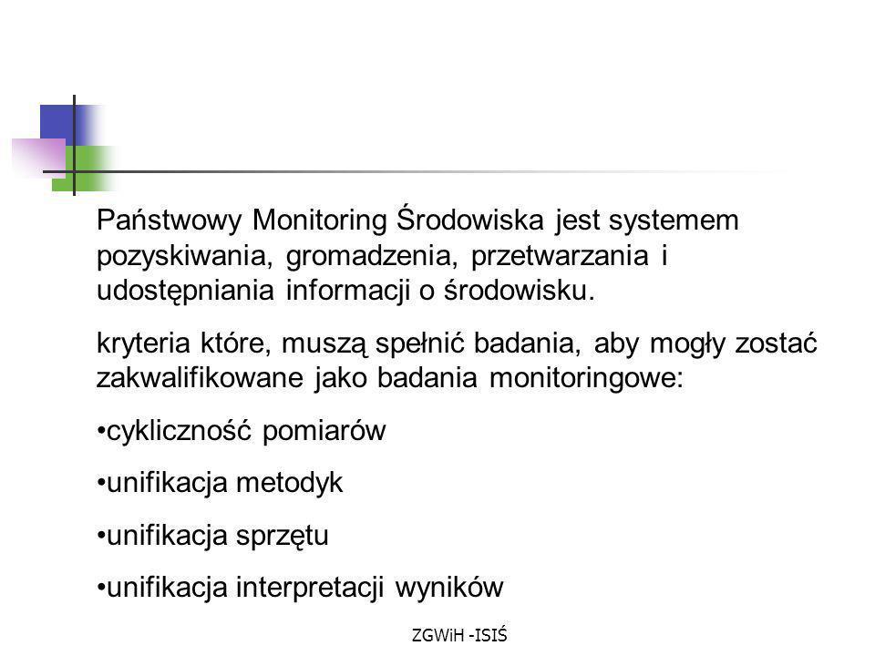 ZGWiH -ISIŚ Państwowy Monitoring Środowiska jest systemem pozyskiwania, gromadzenia, przetwarzania i udostępniania informacji o środowisku. kryteria k