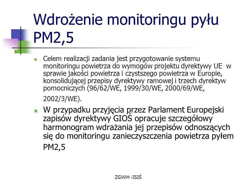 ZGWiH -ISIŚ Wdrożenie monitoringu pyłu PM2,5 Celem realizacji zadania jest przygotowanie systemu monitoringu powietrza do wymogów projektu dyrektywy U