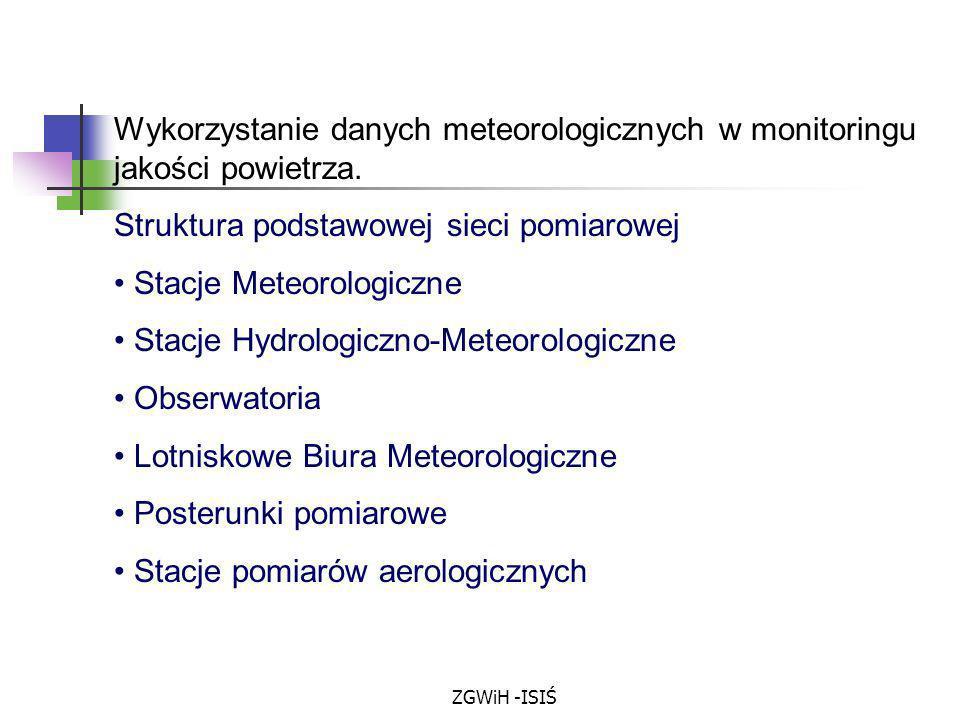 ZGWiH -ISIŚ Wykorzystanie danych meteorologicznych w monitoringu jakości powietrza. Struktura podstawowej sieci pomiarowej Stacje Meteorologiczne Stac
