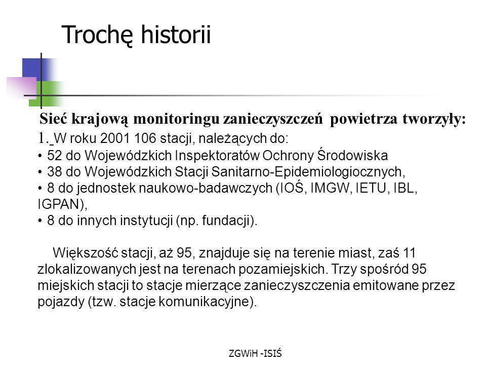 ZGWiH -ISIŚ Sieć krajową monitoringu zanieczyszczeń powietrza tworzyły: 1. W roku 2001 106 stacji, należących do: 52 do Wojewódzkich Inspektoratów Och