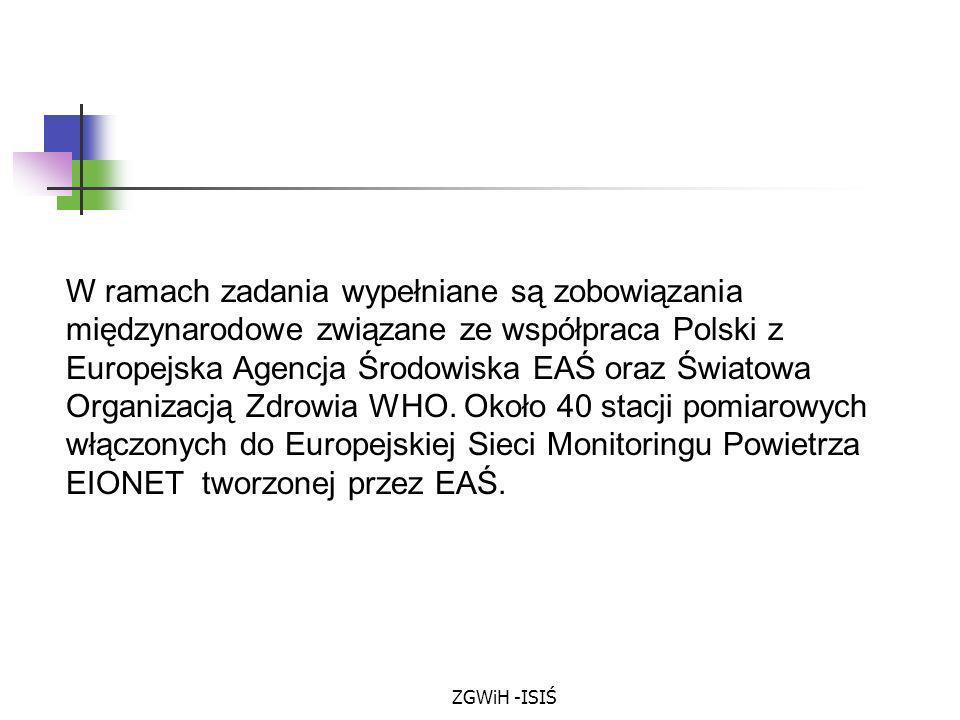 W ramach zadania wypełniane są zobowiązania międzynarodowe związane ze współpraca Polski z Europejska Agencja Środowiska EAŚ oraz Światowa Organizacją