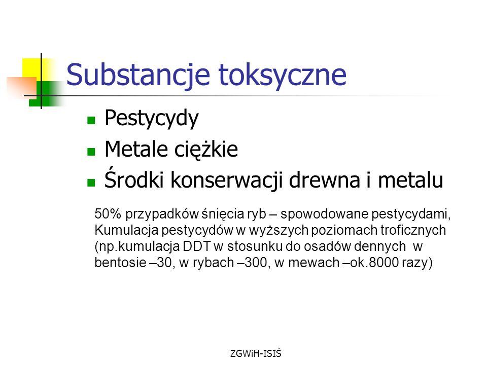 ZGWiH-ISIŚ Substancje toksyczne Pestycydy Metale ciężkie Środki konserwacji drewna i metalu 50% przypadków śnięcia ryb – spowodowane pestycydami, Kumu