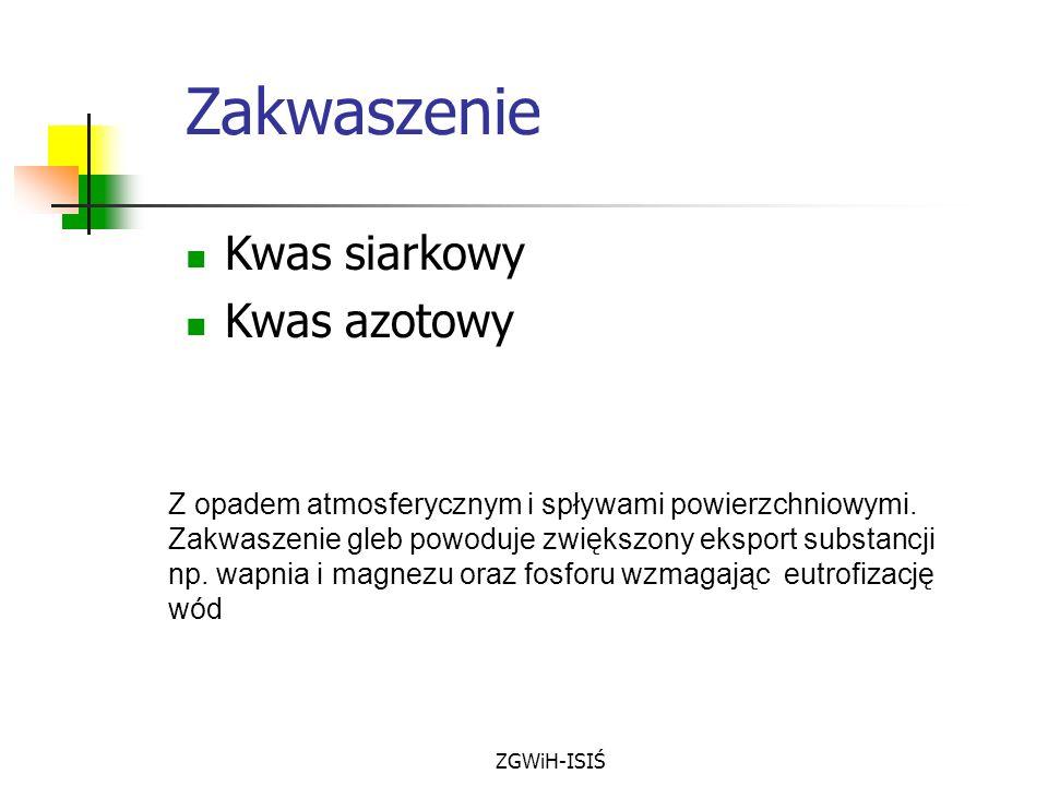 ZGWiH-ISIŚ Zakwaszenie Kwas siarkowy Kwas azotowy Z opadem atmosferycznym i spływami powierzchniowymi. Zakwaszenie gleb powoduje zwiększony eksport su