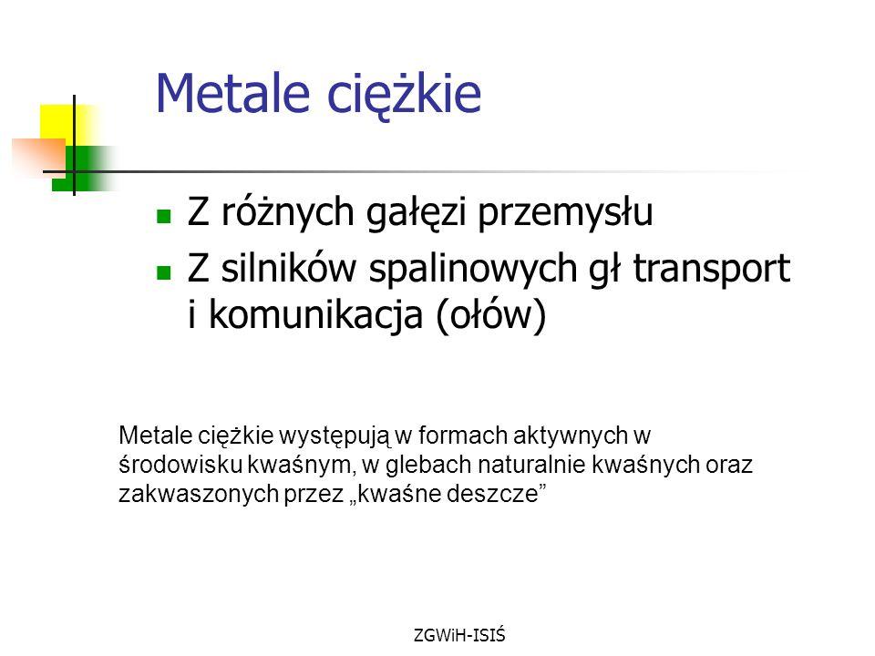 ZGWiH-ISIŚ Metale ciężkie Z różnych gałęzi przemysłu Z silników spalinowych gł transport i komunikacja (ołów) Metale ciężkie występują w formach aktyw