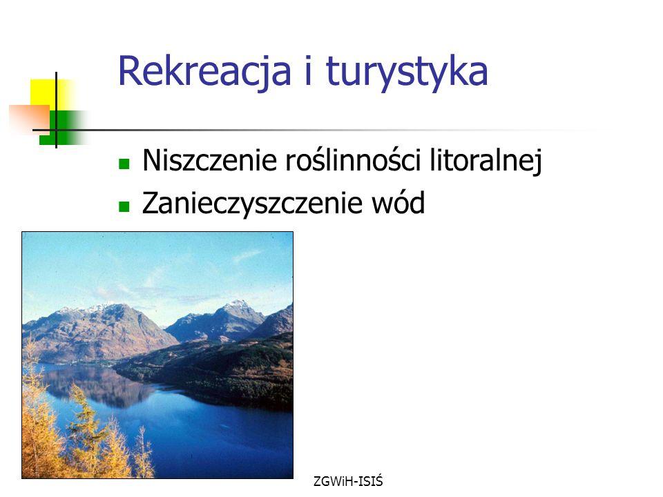 ZGWiH-ISIŚ Rekreacja i turystyka Niszczenie roślinności litoralnej Zanieczyszczenie wód