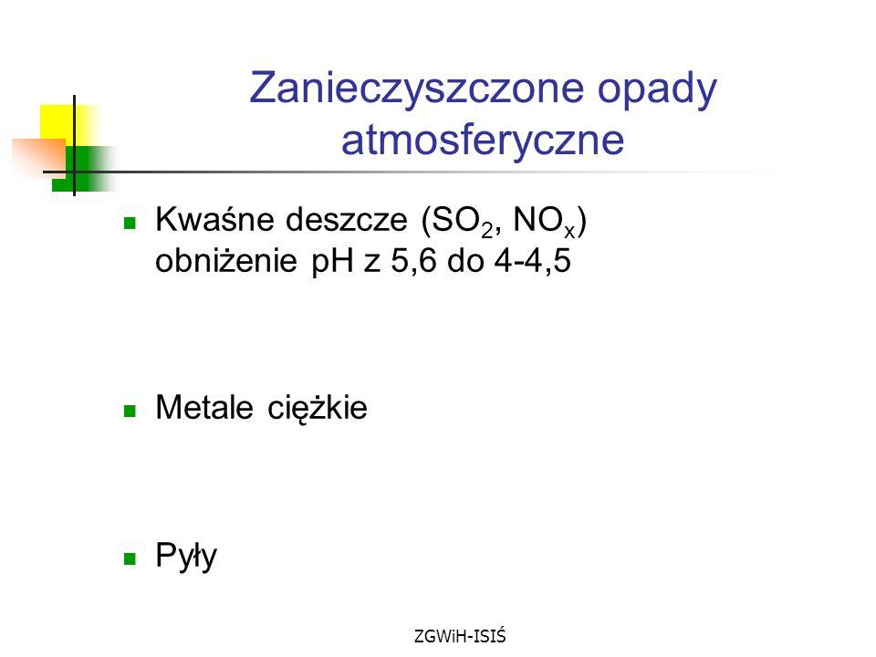 ZGWiH-ISIŚ Zanieczyszczone opady atmosferyczne Kwaśne deszcze (SO 2, NO x ) obniżenie pH z 5,6 do 4-4,5 Metale ciężkie Pyły