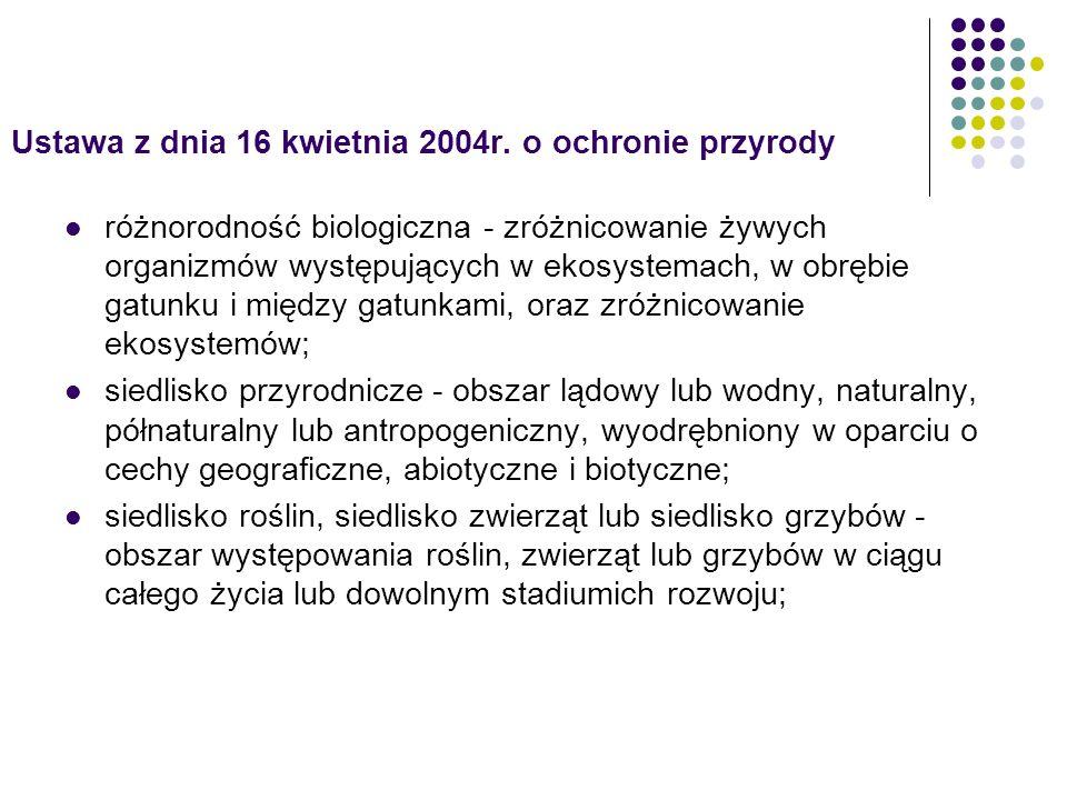 Ustawa z dnia 16 kwietnia 2004r. o ochronie przyrody różnorodność biologiczna - zróżnicowanie żywych organizmów występujących w ekosystemach, w obrębi