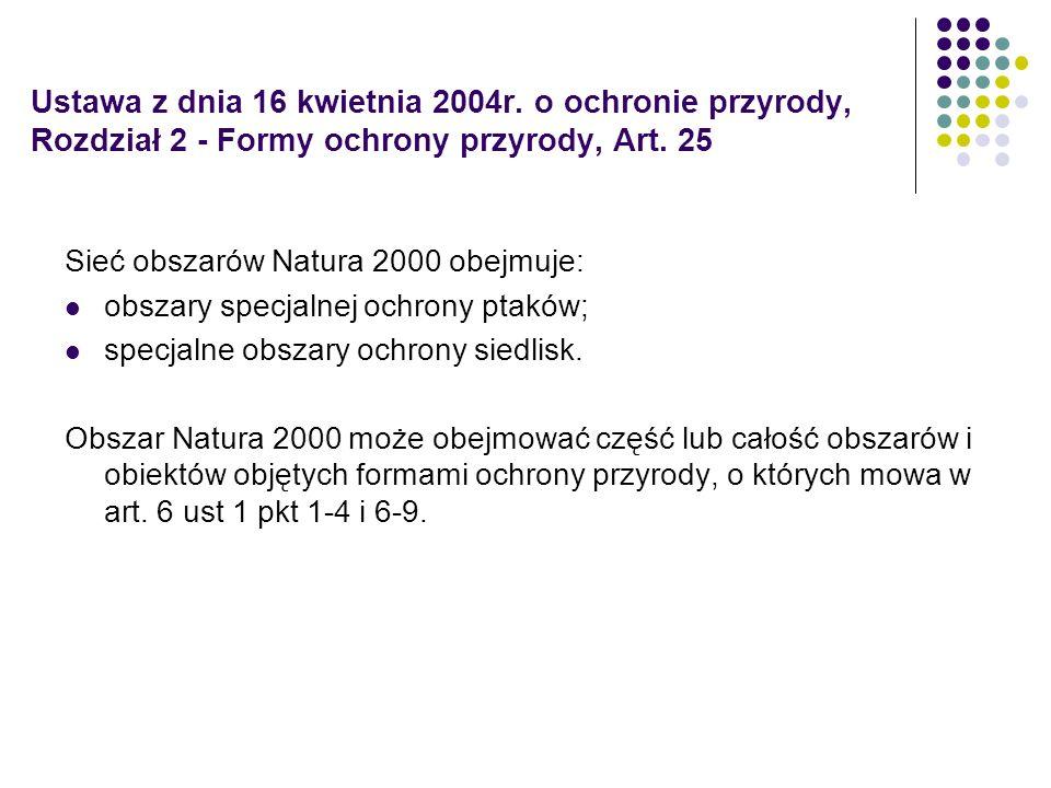 Ustawa z dnia 16 kwietnia 2004r. o ochronie przyrody, Rozdział 2 - Formy ochrony przyrody, Art. 25 Sieć obszarów Natura 2000 obejmuje: obszary specjal