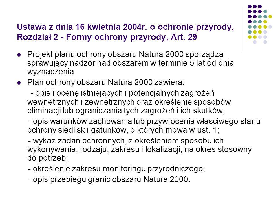 Ustawa z dnia 16 kwietnia 2004r. o ochronie przyrody, Rozdział 2 - Formy ochrony przyrody, Art. 29 Projekt planu ochrony obszaru Natura 2000 sporządza