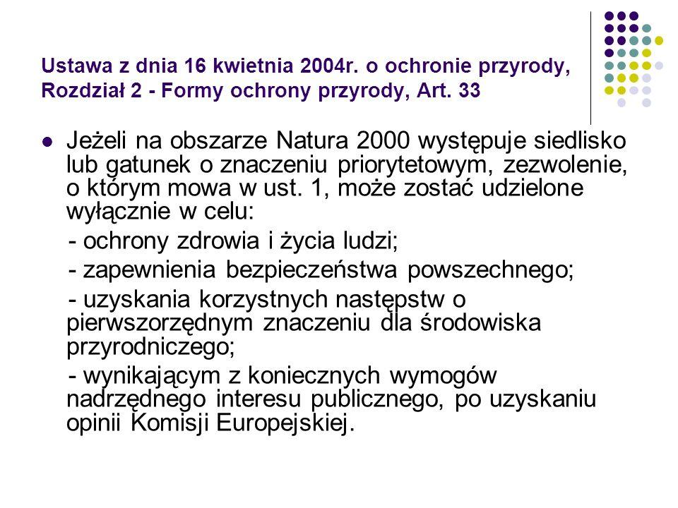 Ustawa z dnia 16 kwietnia 2004r. o ochronie przyrody, Rozdział 2 - Formy ochrony przyrody, Art. 33 Jeżeli na obszarze Natura 2000 występuje siedlisko
