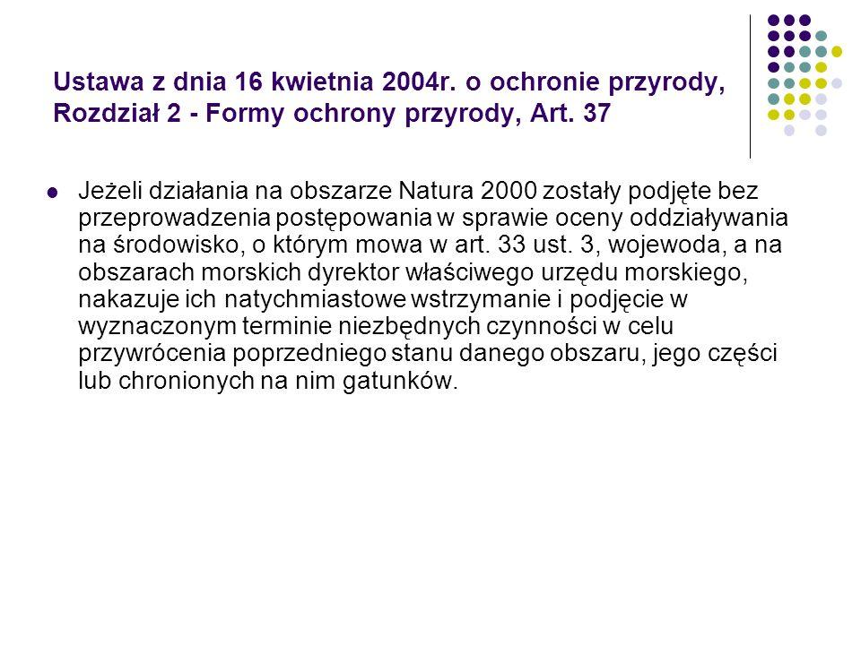 Ustawa z dnia 16 kwietnia 2004r. o ochronie przyrody, Rozdział 2 - Formy ochrony przyrody, Art. 37 Jeżeli działania na obszarze Natura 2000 zostały po
