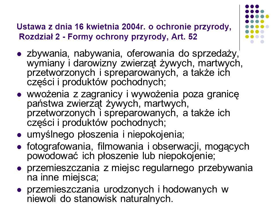 Ustawa z dnia 16 kwietnia 2004r. o ochronie przyrody, Rozdział 2 - Formy ochrony przyrody, Art. 52 zbywania, nabywania, oferowania do sprzedaży, wymia