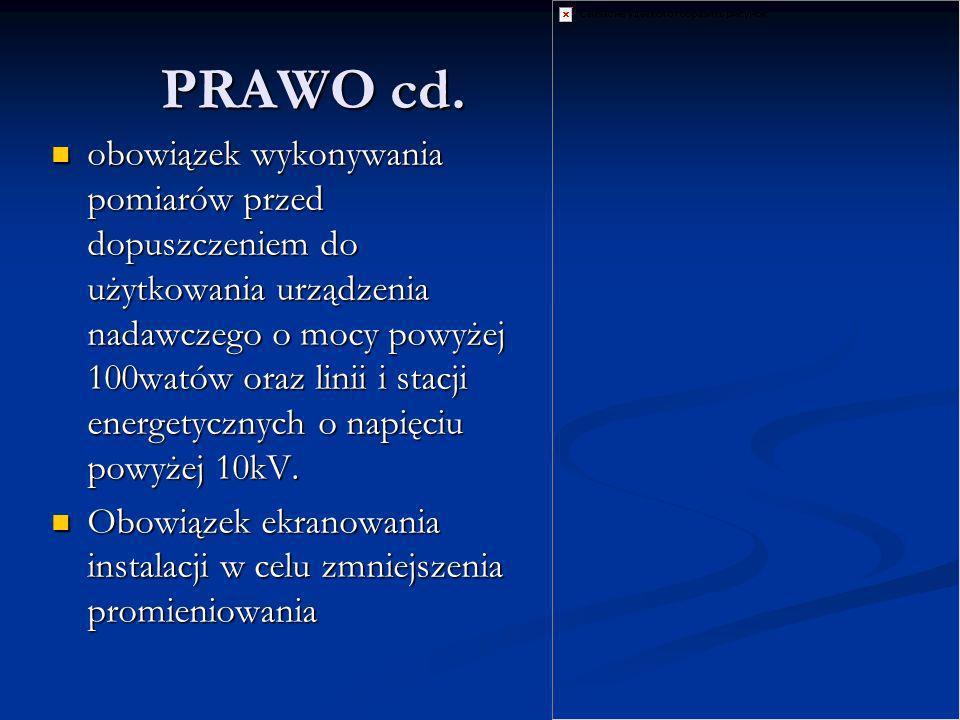 PRAWO cd. obowiązek wykonywania pomiarów przed dopuszczeniem do użytkowania urządzenia nadawczego o mocy powyżej 100watów oraz linii i stacji energety