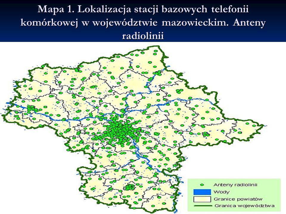 Mapa 1. Lokalizacja stacji bazowych telefonii komórkowej w województwie mazowieckim. Anteny radiolinii