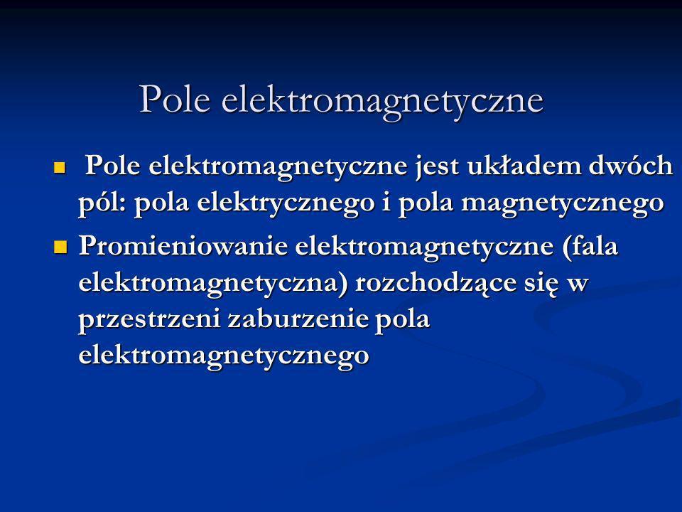 Pole elektromagnetyczne Pole elektromagnetyczne jest układem dwóch pól: pola elektrycznego i pola magnetycznego Pole elektromagnetyczne jest układem d