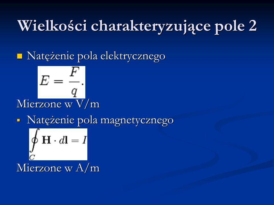 Wielkości charakteryzujące pole 2 Natężenie pola elektrycznego Natężenie pola elektrycznego Mierzone w V/m Natężenie pola magnetycznego Natężenie pola