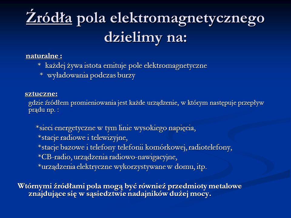 Źródła pola elektromagnetycznego dzielimy na: naturalne : naturalne : * każdej żywa istota emituje pole elektromagnetyczne * każdej żywa istota emituj