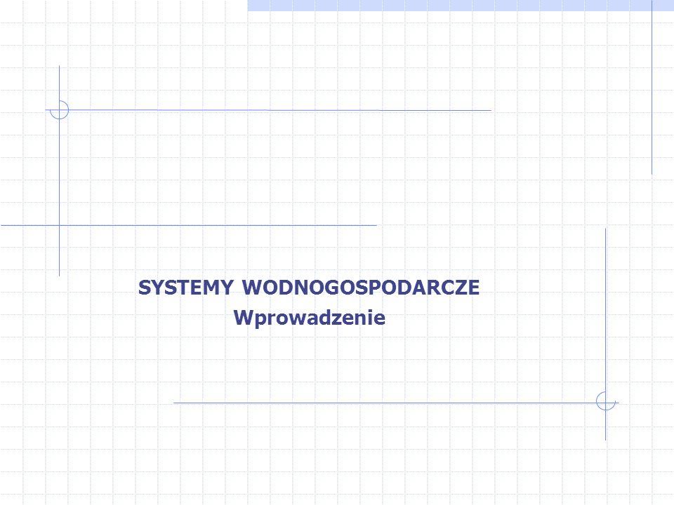 Definicja System wodno-gospodarczy można zdefiniować jako układ funkcjonalno-przestrzenny, obejmujący naturalne zasoby wód powierzchniowych i podziemnych, środowisko przyrodnicze, w którym one występują, obiekty hydrotechniczne umożliwiające kształtowanie tych zasobów, obiekty użytkowników wody oraz powiązania występujące pomiędzy tymi elementami.