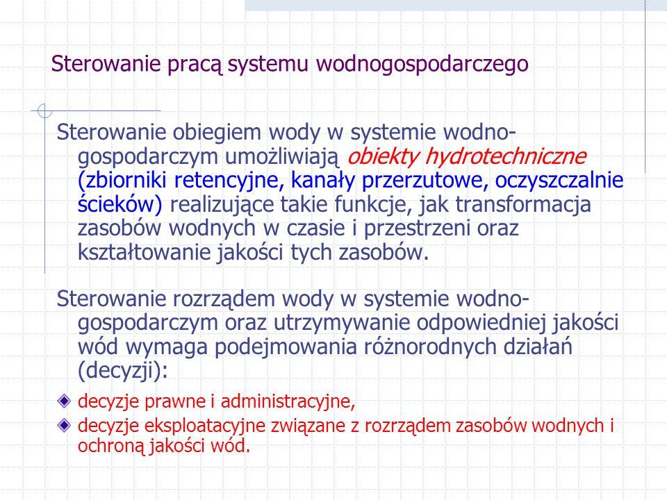 Sterowanie pracą systemu wodnogospodarczego Decyzje prawne i administracyjne: standardy związane z ochroną wód (np.