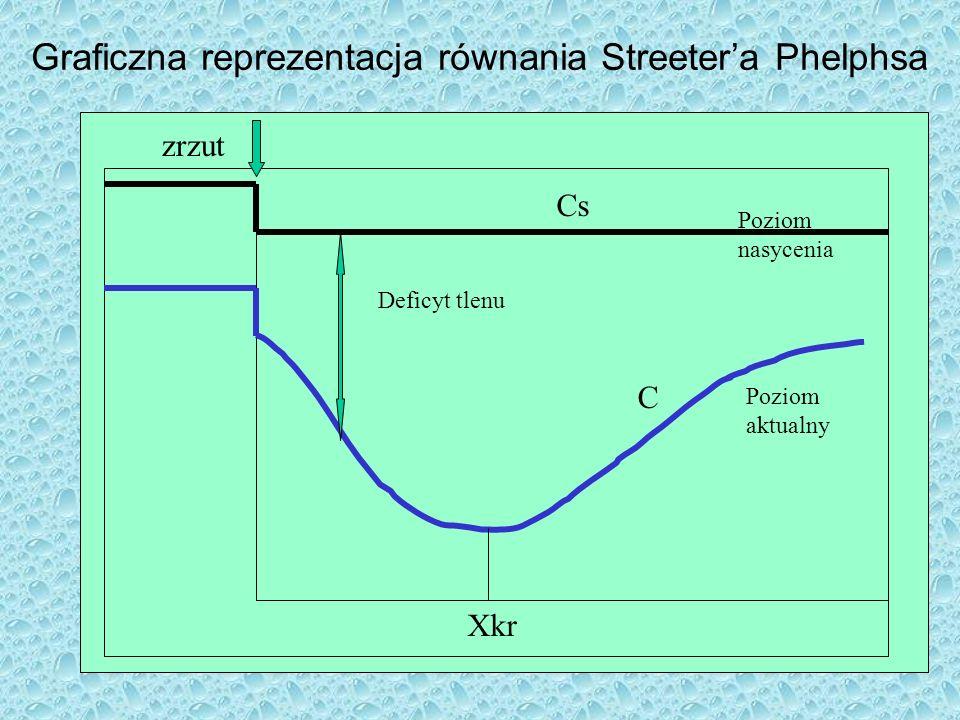 Graficzna reprezentacja równania Streetera Phelphsa Cs C Xkr zrzut Poziom nasycenia Poziom aktualny Deficyt tlenu
