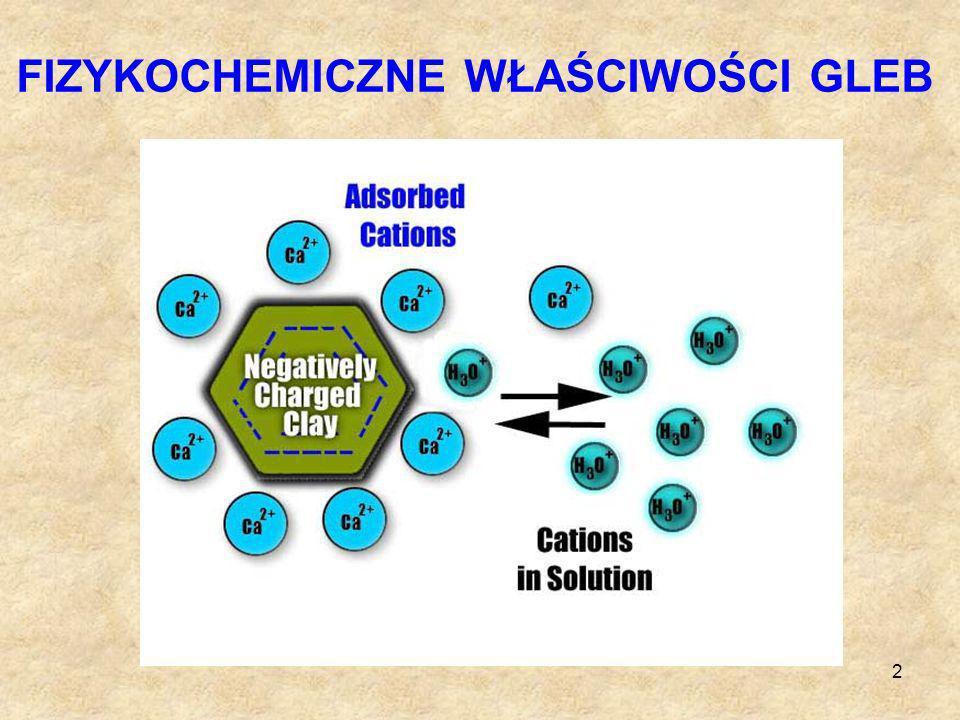 3 ODCZYN GLEB Odczyn - stosunek jonów wodorowych, H +, do jonów wodorotlenowych OH - H 2 O = H + + OH - W wodzie destylowanej [H + ] = [OH - ] = 10 -7 mol/dm 3 - odczyn obojętny Wzrost stężenia jonów [H + ] (spadek [OH - ]) - roztwór kwaśny.