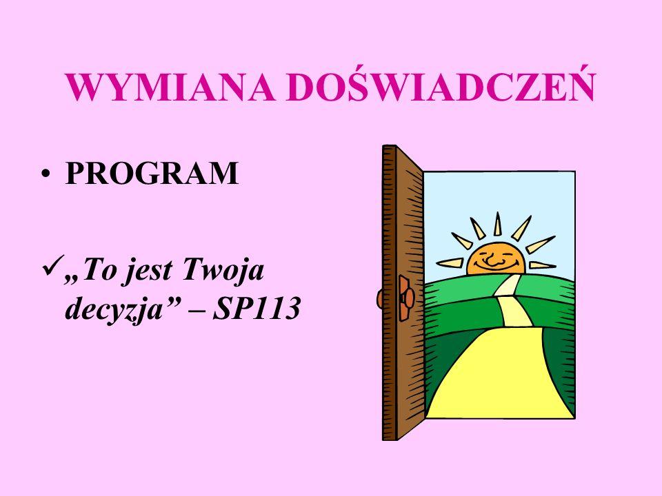 WYMIANA DOŚWIADCZEŃ PROGRAMY: Przeciwko przemocy w szkole - SP118.