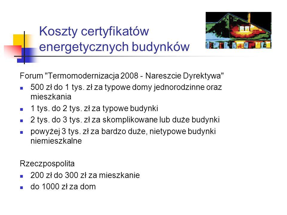 Koszty certyfikatów energetycznych budynków Forum