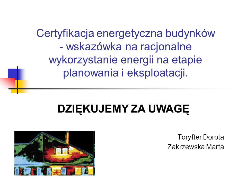 Certyfikacja energetyczna budynków - wskazówka na racjonalne wykorzystanie energii na etapie planowania i eksploatacji. Toryfter Dorota Zakrzewska Mar