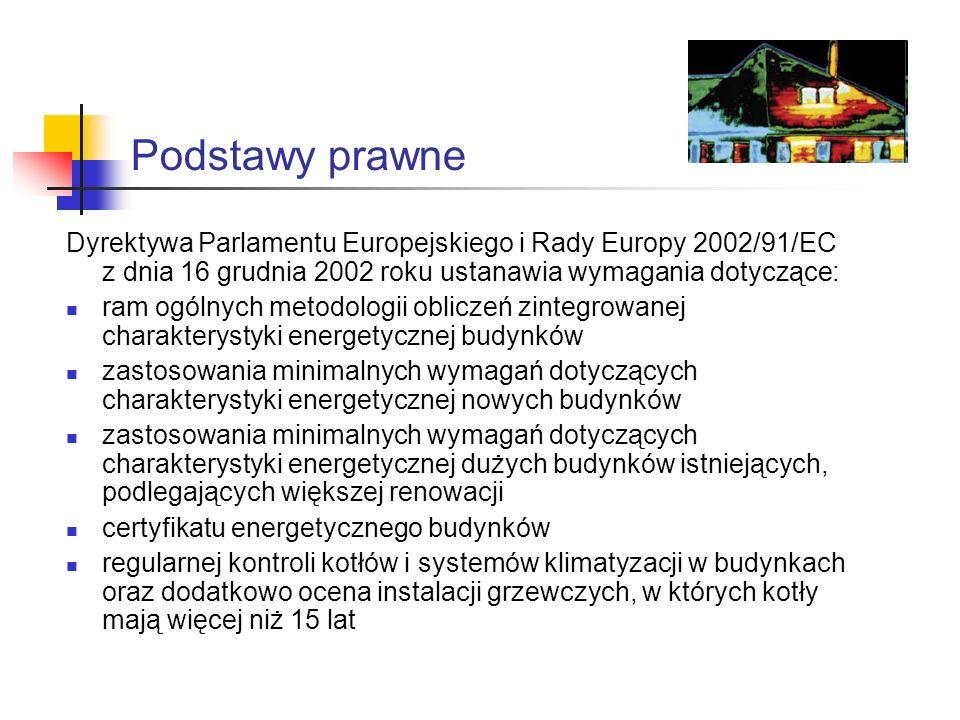 Podstawy prawne 6 listopada 2008 roku Minister Infrastruktury Olgierd Dziekoński podpisał trzy rozporządzenia niezbędne do sporządzania świadectw charakterystyki energetycznej budynków: Rozporządzenie w sprawie metodologii obliczania charakterystyki energetycznej budynku i lokalu mieszkalnego lub części budynku stanowiącej samodzielną całość techniczno- użytkową oraz sposobu sporządzania i wzorów świadectw ich charakterystyki energetycznej Rozporządzenie zmieniające rozporządzenie w sprawie warunków technicznych jakim powinny odpowiadać budynki i ich usytuowanie Rozporządzenie zmieniające rozporządzenie w sprawie szczegółowego zakresu i formy projektu budowlanego
