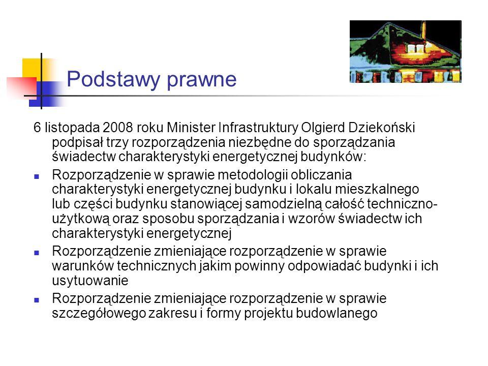 Podstawy prawne 6 listopada 2008 roku Minister Infrastruktury Olgierd Dziekoński podpisał trzy rozporządzenia niezbędne do sporządzania świadectw char