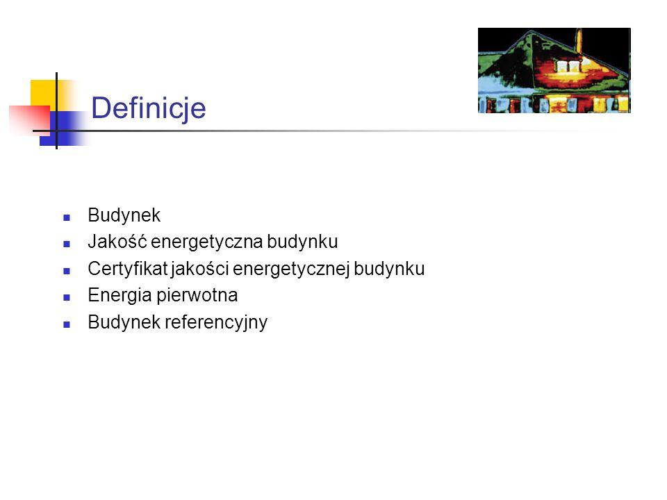 Definicje Budynek Jakość energetyczna budynku Certyfikat jakości energetycznej budynku Energia pierwotna Budynek referencyjny