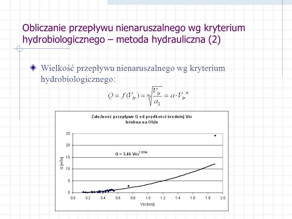 Obliczanie przepływu nienaruszalnego wg kryterium hydrobiologicznego – metoda hydrauliczna (2) Wielkość przepływu nienaruszalnego wg kryterium hydrobiologicznego: